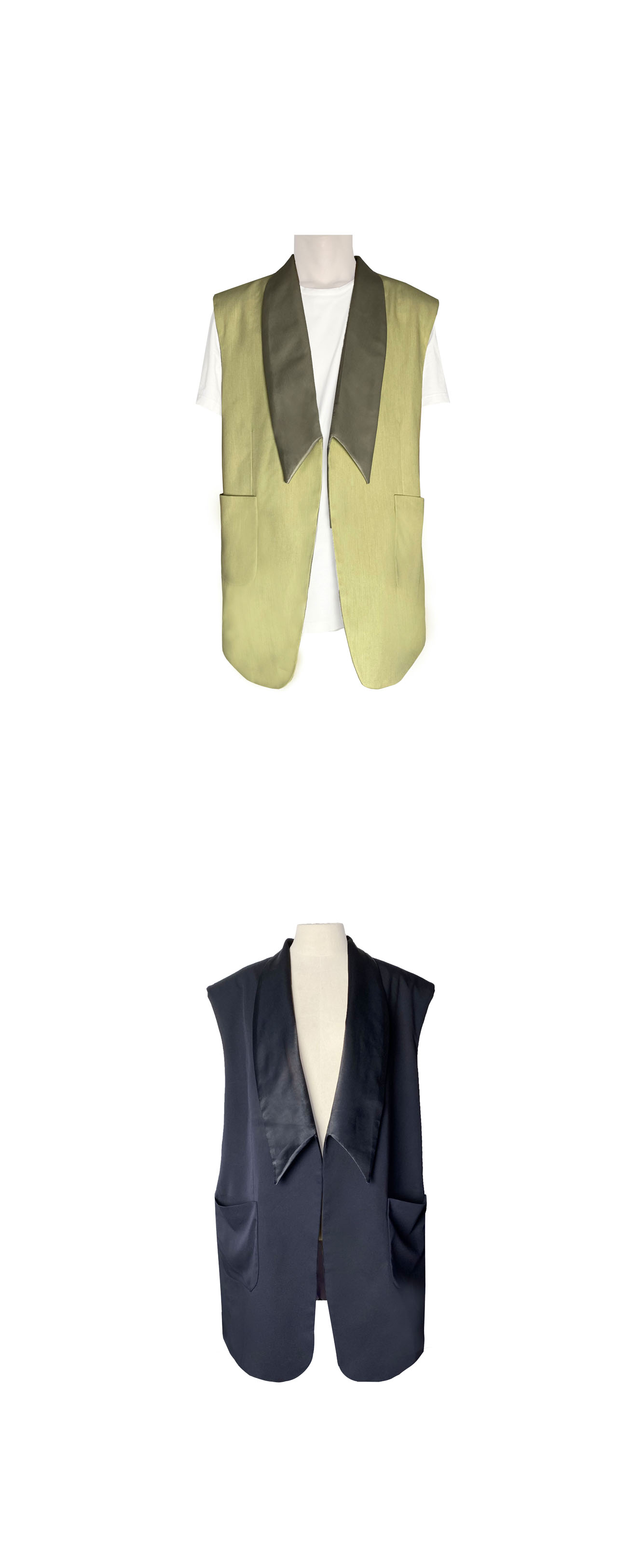 Oversized shawl collar vest_NV